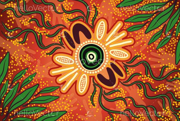 Wattle leaf aboriginal art background
