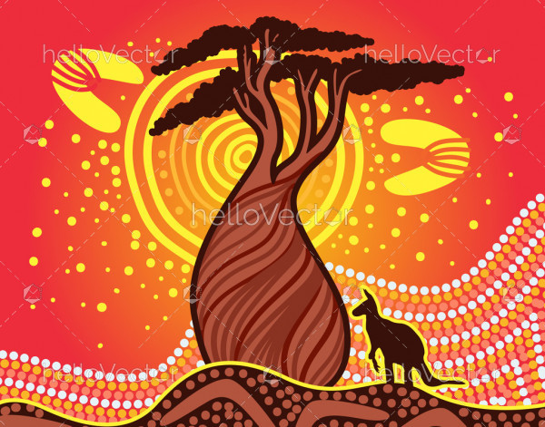 Boab tree nature background in aboriginal style