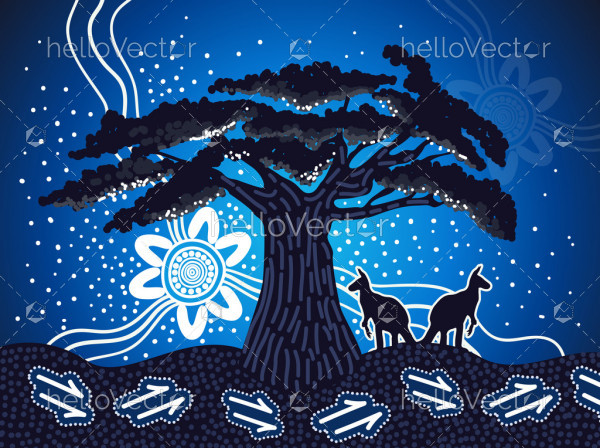 Nature painting with boab tree - Vector