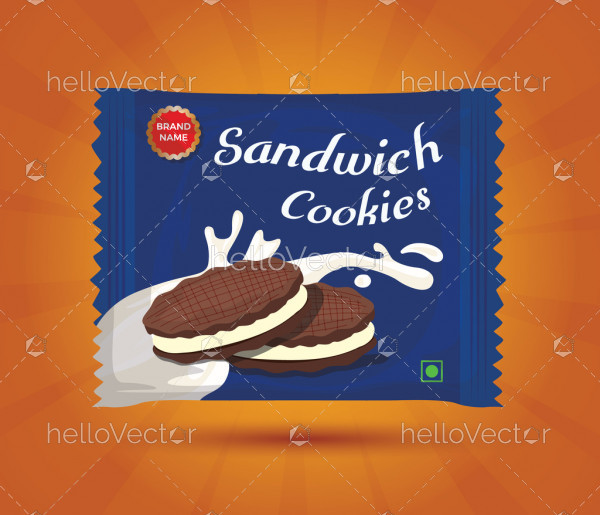 Sandwich cookies packaging - Vector illustration
