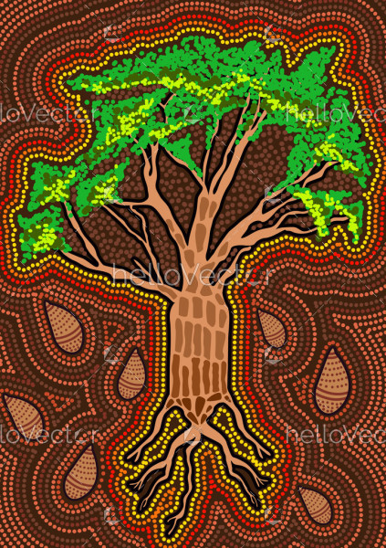 Boab tree with nut aboriginal art