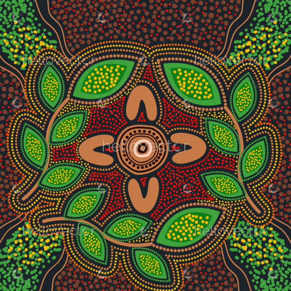 Aboriginal leaves dot background
