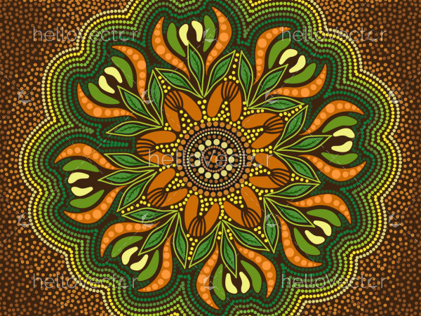 Green aboriginal art background with leaves