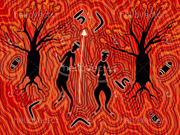 Aboriginal people with spear in the forest art