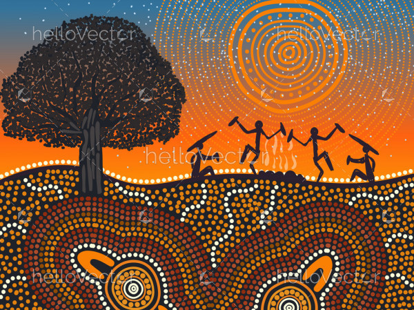 Campfire and dance, aboriginal cultural night painting