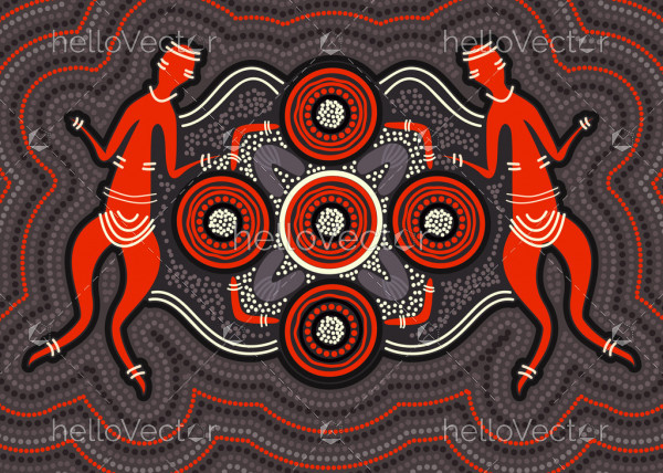 Aboriginal style of dot art - Vector