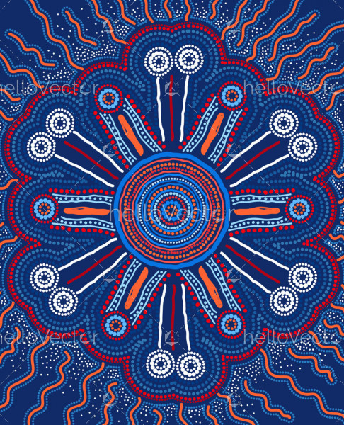 Blue aboriginal dot art painting