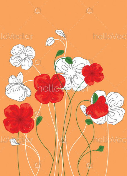 Red And White Poppy Flowers Floral Background With Poppies