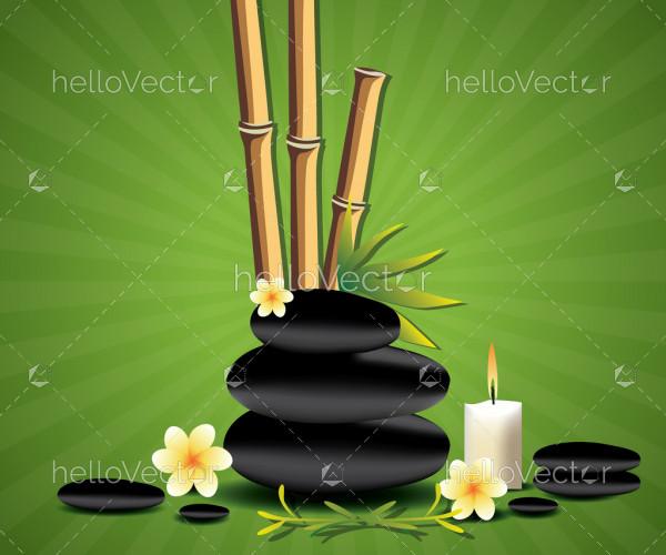 Spa background with black zen spa stones