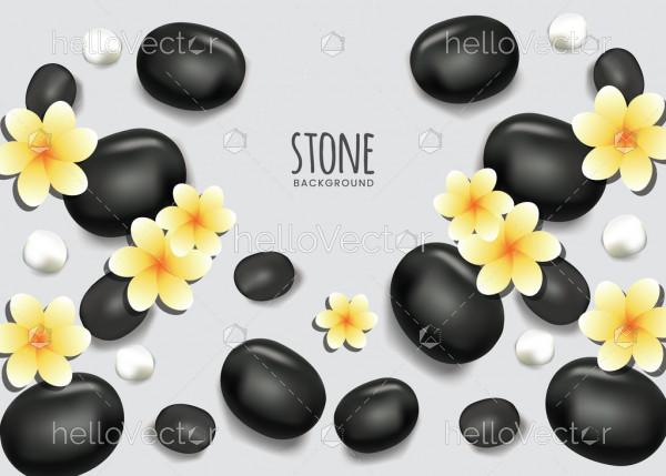 Black zen spa stones background
