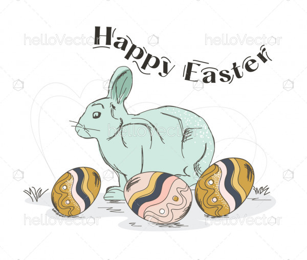 Easter rabbit with eggs. Happy easter illustration