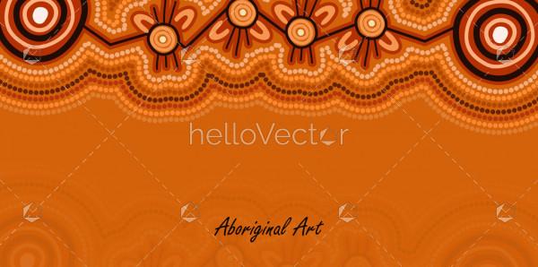 Brown aboriginal dot art banner template