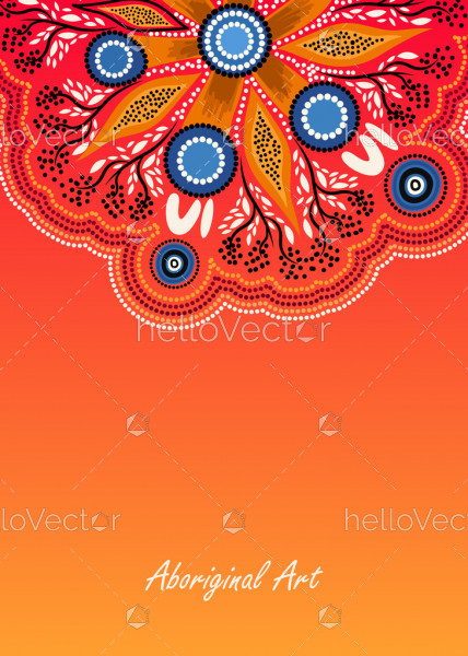 Poster background with aboriginal wattle leaves art