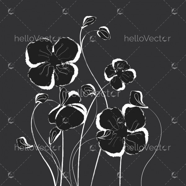 Black and white poppy flowers, Floral background with poppies - Vector Illustration