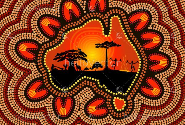 Aboriginal painting depicting australia