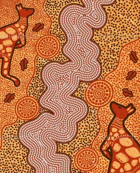 Kangaroo aboriginal art background