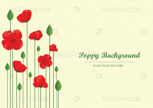 Red Poppy Flowers, Banner Background With Poppies - Vector Illustration