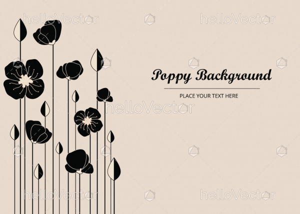 Black Poppy Flowers, Banner Background With Poppies - Vector Illustration