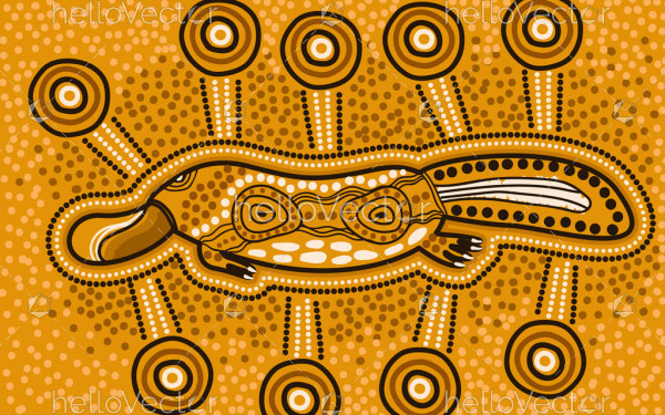 Yellow aboriginal vector platypus art