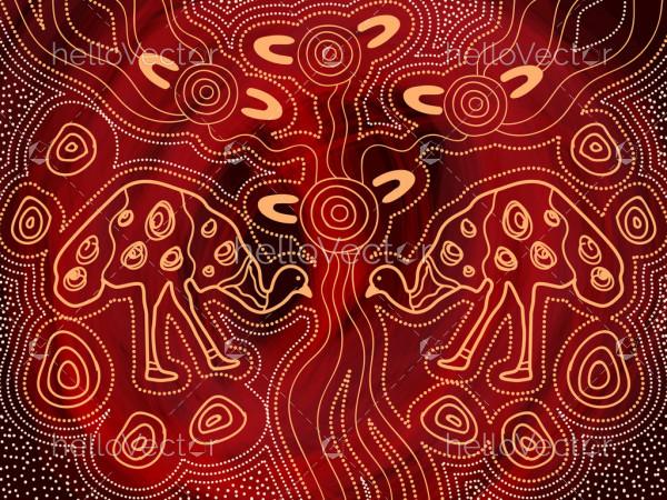 Emu aboriginal art background