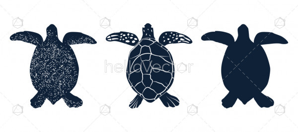 Hand drawn silhouette of sea turtle