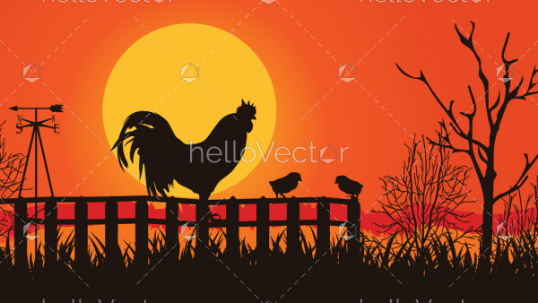 Rooster silhouette crowing at sunrise