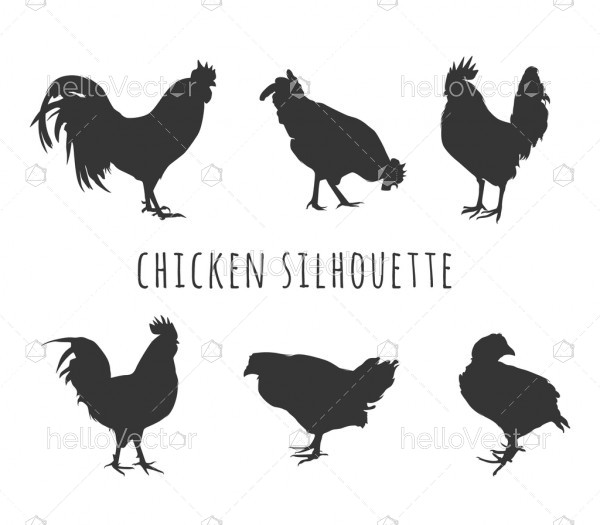 Chicken Silhouette Set