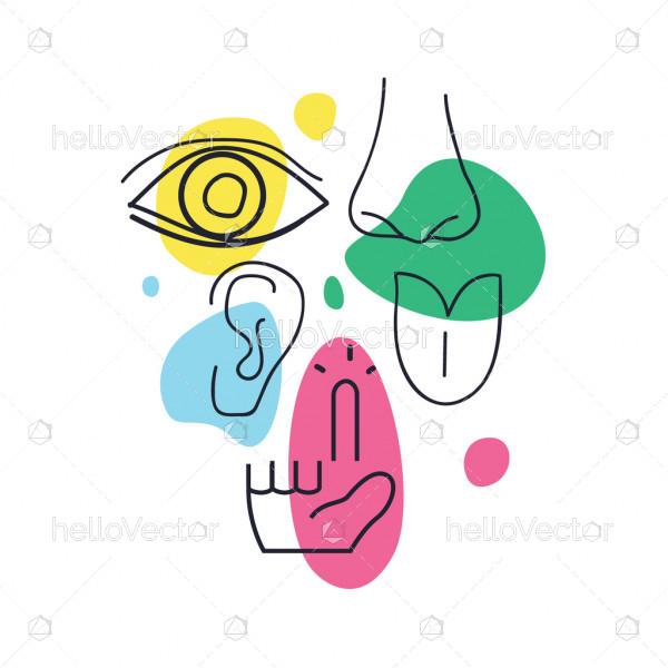 Hand drawn abstract icons representing the five human senses