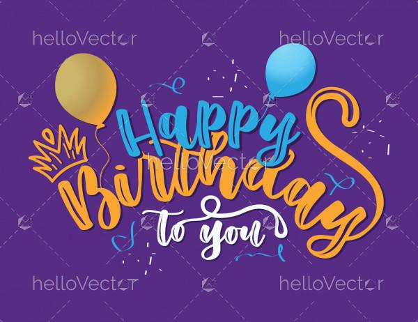 Happy Birthday Calligraphy Design - Vector
