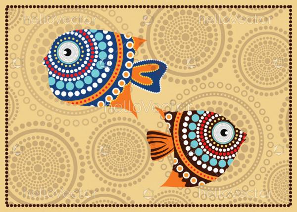 Aboriginal fish dot painting - Vector illustration.