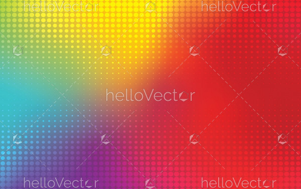 Rainbow mesh background with halftone effect