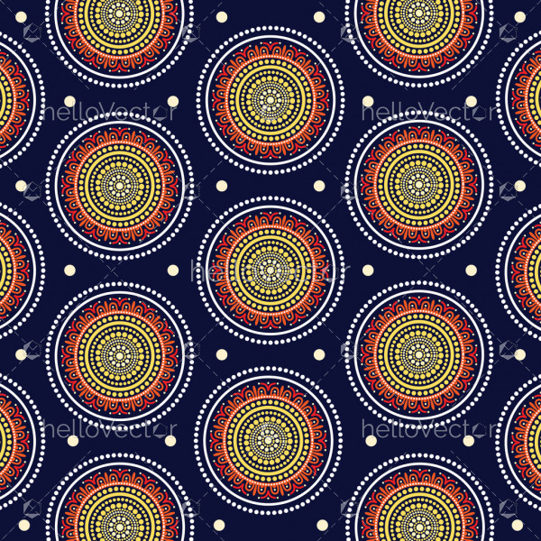 Aboriginal dot art seamless pattern background - Vector Illustration