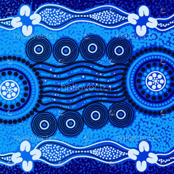 Blue vector aboriginal art background