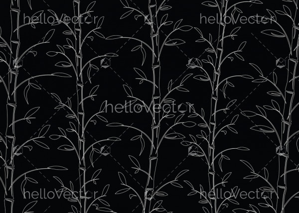 Seamless bamboo pattern background vector. Line art black and white decorative bamboo branches wallpaper.