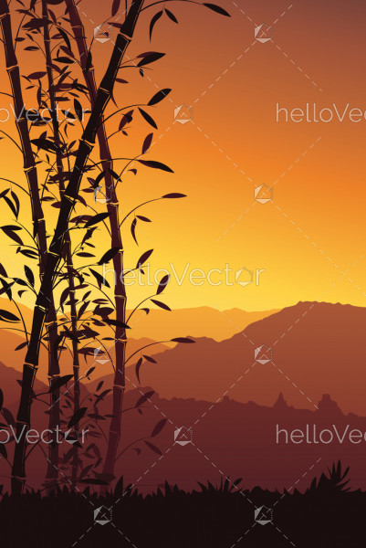 Nature background with bamboo vector, Scenery mobile wallpaper