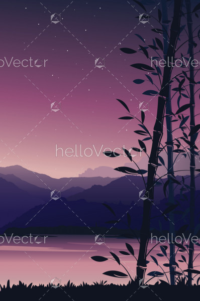 Scenery mobile wallpaper, Nature background with bamboo portrait view - vector illustration