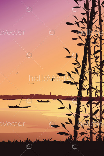 Scenery mobile wallpaper, Nature background with bamboo and river portrait view - vector illustration