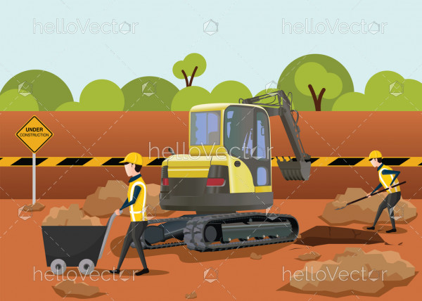 Road Construction Vector - The process of building a new road.