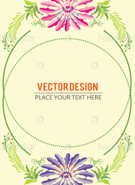 Abstract colorful flowers banner with text - Vector illustration