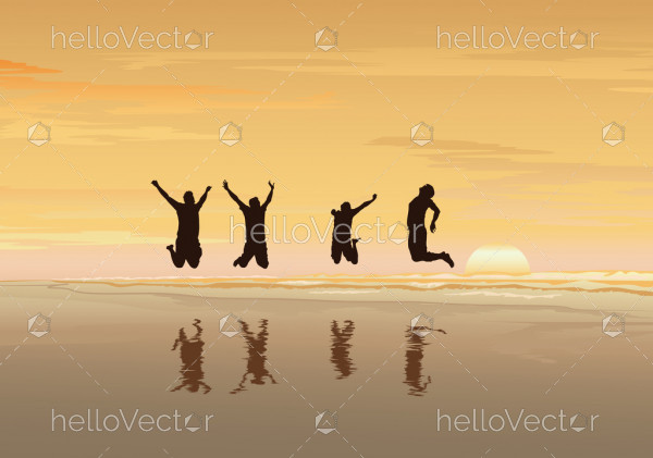 Freedom and independence concept background, Silhouette of happy people jumping on sea beach