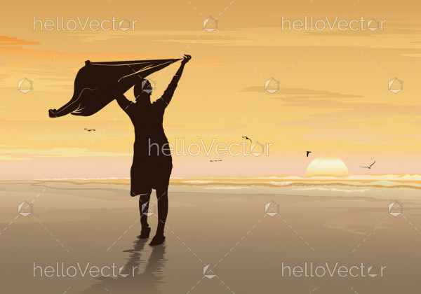 Freedom and independence concept background, Silhouette of a happy woman open arms under the sunset on the beach - Vector illustration