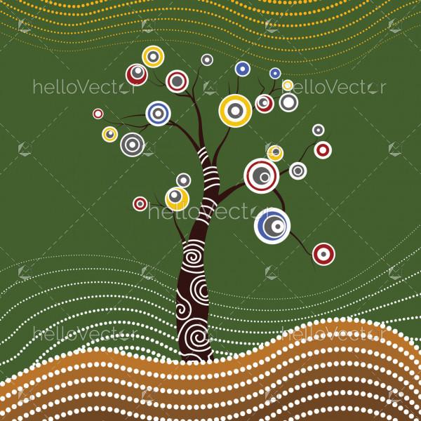 Tree on the hill, Aboriginal tree, Aboriginal art vector painting with tree