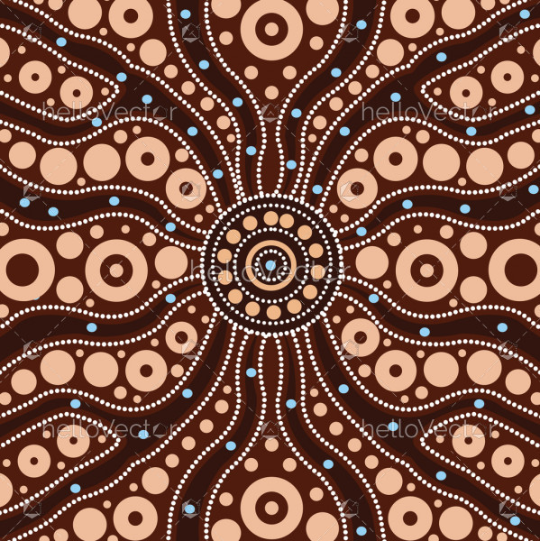 Connection concept, Aboriginal art vector painting