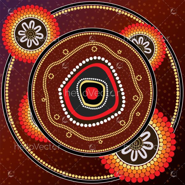 Aboriginal dot art background vector