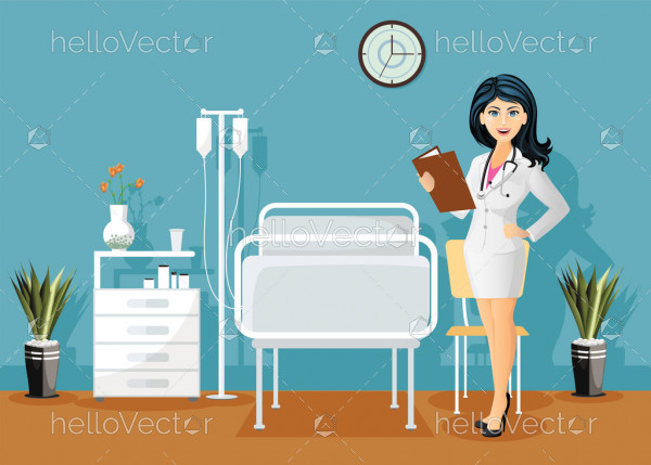 Female doctor with stethoscope, Holding a medical record in hospital ward, Hospital room interior