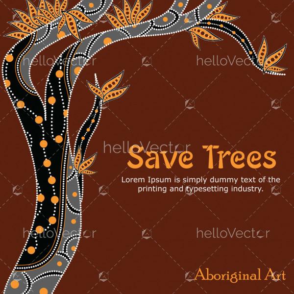 Aboriginal Tree Illustration, Vector painting, Save tree concept