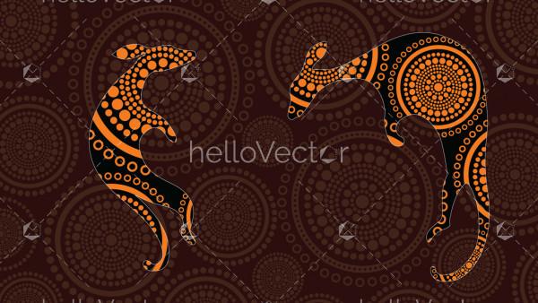Aboriginal art vector painting with kangaroo.
