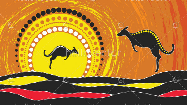 Aboriginal art vector painting with kangaroo.