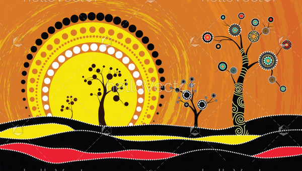 Tree on the hill, Aboriginal tree, Aboriginal art vector painting with tree and sun.