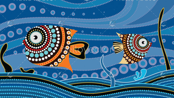 Aboriginal dot art painting with fish, Underwater concept